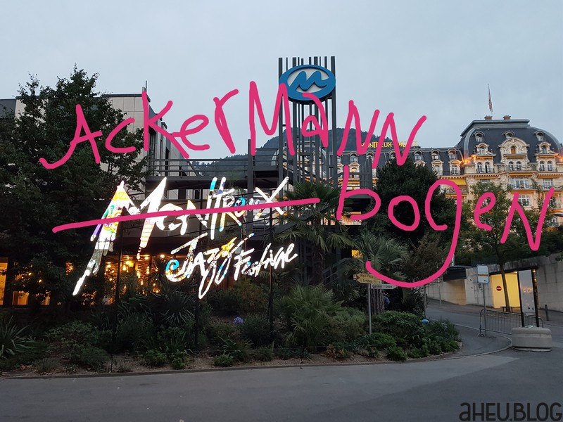 Montreux Jazz Festival Logo mit Ackermannbogen überschrieben