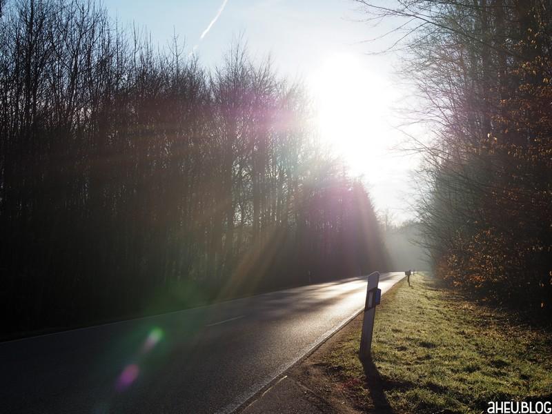 Straße in der Morgensonne