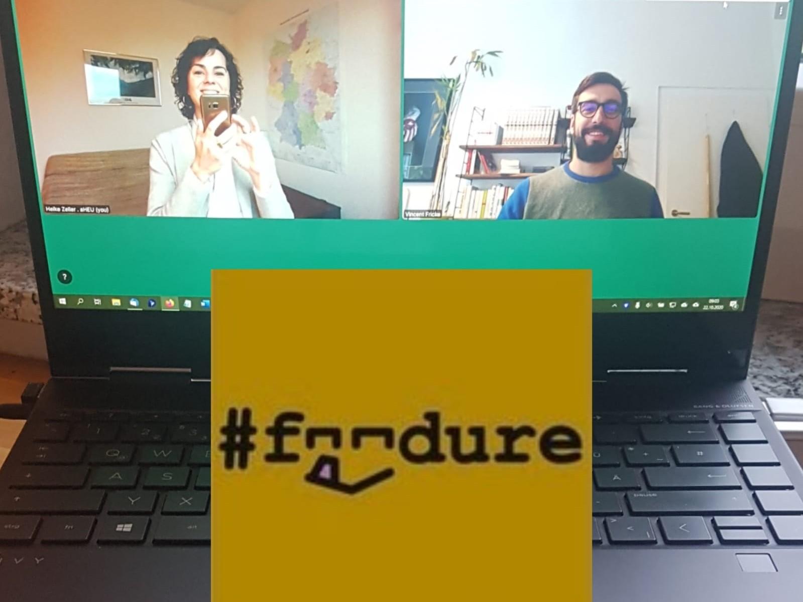 Computer mit Videokonferenz, Foodure, Heike Zeller, Vincent Fricke